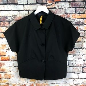 Piazza Sempione Cropped Black Button Up Blouse